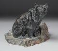Fine Art - Sculpture, European:Antique (Pre 1900), A FRENCH OR RUSSIAN BRONZE BEAR ON MARBLE BASE. Late 19th Century.9-1/2 inches (24.1 cm) high. ...