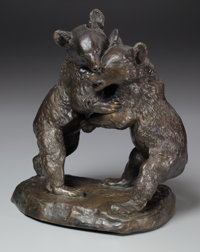 VICTOR PETER (French, 1840-1918) Fighting Bear Cubs Bronze with patina 14 inches (35.6 cm) high