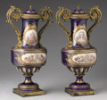 "Ceramics & Porcelain, A PAIR OF FRENCH GILT BRONZE MOUNTED SÈVRES STYLE ""JEWELED"" PORCELAIN COVERED VASES. Late 19th Century. 22 inches (55.9 cm) ... (Total: 2 Items)"