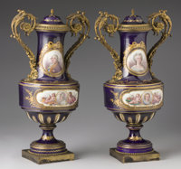 "A PAIR OF FRENCH GILT BRONZE MOUNTED SÈVRES STYLE ""JEWELED"" PORCELAIN COVERED VASES Late 19th Century 2..."