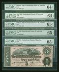 Confederate Notes:Group Lots, A Mixed Lot of Confederate Notes.. ... (Total: 5 notes)