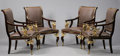 Furniture : French, A SET OF FOUR EMPIRE STYLE GILT BRONZE MOUNTED MAHOGANY ARMCHAIRS.40-1/2 x 27-1/2 x 26 inches (102.9 x 69.9 x 66.0 cm) each...(Total: 4 Items)