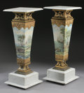 Furniture , A PAIR OF ENAMEL ON COPPER, PORCELAIN, AND MARBLE PEDESTALS. Late 19th Century. 38-3/4 x 14 x 14 inches (98.4 x 35.6 x 35.6 ... (Total: 2 Items)