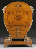 Furniture : Continental, A BEIDERMEIER STYLE BIRCH LYRE FORM SECRETAIRE. 63-3/8 x 44 x19-1/4 inches (160.8 x 111.8 x 48.9 cm). ...
