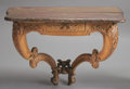 Furniture : French, A FRENCH PROVINCIAL OAK CONSOLE WITH FAUX MARBLE TOP. 18th Century and later. 26 x 41 x 25 inches (66.0 x 104.1 x 63.5 cm). ...