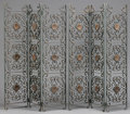 Furniture , A PAIR OF BAROQUE STYLE WROUGHT IRON AND TOLE THREE PANEL SCREENS. 72-1/2 x 18-1/2 inches (184.2 x 47.0 cm) each panel. ...