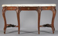 Furniture , A FRENCH LOUIS XV STYLE WALNUT CONSOLE WITH MARBLE TOP. 19th Century. 42 x 81-1/2 x 24 inches (106.7 x 207.0 x 61.0 cm). ...