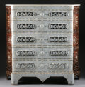 Furniture , A SYRIAN MOTHER-OF-PEARL INLAID HARDWOOD CHEST OF DRAWERS WITH MARBLE TOP. 56-1/2 x 56-1/2 x 21-1/4 inches (143.5 x 143.5 x ...