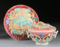 Asian:China Trade, A CHINESE EXPORT FAMILLE ROSE PORCELAIN COVERED BOWL AND DISH. 18th Century. 4-1/8 x 6-1/4 x 6-1/4 inches (10.5 x 15.9 x 15.... (Total: 2 Items)