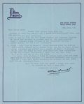 Movie/TV Memorabilia:Autographs and Signed Items, Stan Laurel 1963 Signed Letter. ...
