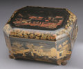 Asian:China Trade, A CHINESE EXPORT LACQUERED TEA CADDY. Early 19th Century. 6-1/2 x11-3/4 x 9-1/4 inches (16.5 x 29.8 x 23.5 cm) closed. ...