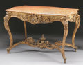 Furniture , A FRENCH LOUIS XV STYLE GILT WOOD SALON TABLE WITH MARBLE TOP. 19th Century. 31-1/2 x 46 x 31 inches (80.0 x 116.8 x 78.7 cm...