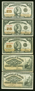Canadian Currency: , Five Canadian Shinplasters.. ... (Total: 5 notes)