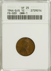 1944-D/S 1C VF25 ANACS. FS-020 OMM-1. NGC Census: (2/71). PCGS Population (3/96). Mintage: 430,577,984. Numismedia Wsl...