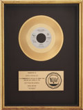 "Music Memorabilia:Awards, Beatles Related - John Lennon ""Woman"" RIAA Gold Single Award...."