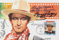 Movie/TV Memorabilia:Autographs and Signed Items, John Wayne First Day Cover Signed by Roy Rogers, Gene Autry, and Other Western Legends....