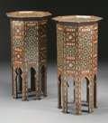 Furniture : Continental, A PAIR OF MOORISH MOTHER-OF-PEARL INLAID HARDWOOD TABLES. 36-1/4 x 17-3/4 x 17-3/4 inches (92.1 x 45.1 x 45.1 cm) each. ... (Total: 2 Items)