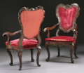 Furniture : Continental, A PAIR OF VENETIAN ROCOCO STYLE CARVED WALNUT ARMCHAIRS. ThirdQuarter 18th Century. 47 x 31 x 26 inches (119.4 x 78.7 x 66....(Total: 2 Items)