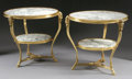 Furniture , A PAIR OF FRENCH LOUIS XVI STYLE GILT BRONZE AND MARBLE GUERIDONS. 29 x 32 x 32 inches (73.7 x 81.3 x 81.3 cm) each. ... (Total: 2 Items)