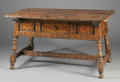 Furniture : Continental, A SPANISH COLONIAL WALNUT AND MARQUETRY TABLE. 36 x 65 x 38-1/4inches (91.4 x 165.1 x 97.2 cm). ...