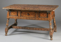 A SPANISH COLONIAL WALNUT AND MARQUETRY TABLE 36 x 65 x 38-1/4 inches (91.4 x 165.1 x 97.2 cm)