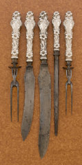 Silver Flatware, American:Whiting, AN AMERICAN SILVER CARVING SET. Whiting Manufacturing Company, NewYork, New York, circa 1902. Marks: (griffin with W), ST...(Total: 5 Items)