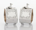 Silver Holloware, American:Napkin Rings, A PAIR OF AMERICAN SILVER FIGURAL NAPKIN RINGS. Maker unknown,circa 1870. Marks: STERLING, 117. 2-3/4 x 2 x 1-1/2 inche...(Total: 2 Items)