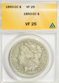 1893-CC $1 VF25 ANACS. NGC Census: (82/1973). PCGS Population (103/3862). Mintage: 677,000. Numismedia Wsl. Price for NG...