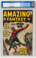Silver Age (1956-1969):Superhero, Amazing Fantasy #15 (Marvel, 1962) CGC VF 8.0 Cream to off-white pages....