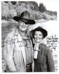 Movie/TV Memorabilia:Autographs and Signed Items, John Wayne and Katharine Hepburn Rooster Cogburn Signed Photo....