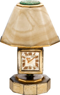 Cartier Fine And Extremely Rare Silver, Gold, Jadeite And Pearl Four Dial Eight Day Lamp-Form Desk Clock, No. 1611, circ...