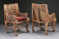 Furniture : Continental, A PAIR OF EGYPTIAN REVIVAL POLYCHROME WOOD ARMCHAIRS. 40-1/4 x 26 x28 inches (102.2 x 66.0 x 71.1 cm) each. ... (Total: 2 Items)