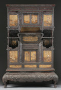Asian:Japanese, A JAPANESE LACQUERED ROSEWOOD CABINET. Meiji Period, 19th Century.86 x 58 x 23 inches (218.4 x 147.3 x 58.4 cm). ...