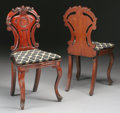 Furniture : English, A PAIR OF ENGLISH VICTORIAN MAHOGANY HALL CHAIRS. Circa 1840-1850. 35 x 18 x 15 inches (88.9 x 45.7 x 38.1 cm) each. ... (Total: 2 Items)