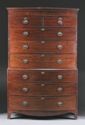Furniture : English, AN ENGLISH GEORGE III MAHOGANY BOW FRONT CHEST ON CHEST. Late 18th Century. Upper drawer stamped: LC (twice). 80-3/8 x 5...