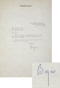 Movie/TV Memorabilia:Autographs and Signed Items, Humphrey Bogart Signed Letter....