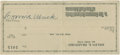 Autographs:Checks, Connie Mack Signed Check. ...
