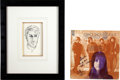 Music Memorabilia:Original Art, Jefferson Airplane Related - Grace Slick Sketch and Signed HowIt Was LP.... (Total: 2 Items)