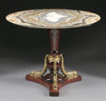 Furniture : Continental, A BALTIC EMPIRE STYLE GILT BRONZE MOUNTED MAHOGANY TABLE WITH ONYXTOP. 30-1/4 x 39-1/4 x 39-1/4 inches (76.8 x 99.7 x 99.7 ...