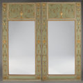 Furniture : Continental, A PAIR OF FRENCH LOUIS XVI PARCEL GILT AND PAINTED WOOD TRUMEAUMIRRORS. Late 18th Century. 99 x 48 inches (251.5 x 121.9 cm...(Total: 2 Items)