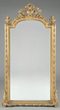 Furniture : French, A FRENCH LOUIS XVI STYLE GILT WOOD MIRROR. 84 x 38-1/2 inches (213.4 x 97.8 cm). ...