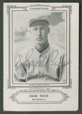 Autographs:Sports Cards, 1926 Spalding Champions Sam Rice Signed Card. ...