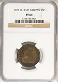 Proof Seated Quarters, 1873 25C CL 3 No Arrows PR64 NGC. NGC Census: (48/39). PCGSPopulation (34/18). Mintage: 600. Numismedia Wsl. Price for NGC...