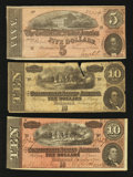 Confederate Notes:1864 Issues, T68 $10 1864. Two Examples.. T69 $5 1864.. ... (Total: 3 notes)