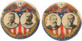 Political:Pinback Buttons (1896-present), Roosevelt & Fairbanks and Parker & Davis: Pair of Scarce and Colorful 1904 Jugates.... (Total: 2 Items)