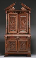 Furniture : French, A FRENCH MARBLE INLAID WALNUT CABINET. 19th Century. 118-5/8 x60-1/2 x 26 inches (301.3 x 153.7 x 66.0 cm). ...
