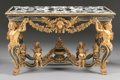 Furniture : French, A FRENCH LOUIS XIV STYLE GILT WOOD AND MARBLE VENEER CENTER TABLE. 34-1/8 x 56-1/4 x 30 inches (86.7 x 142.9 x 76.2 cm). ...