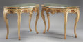 Furniture : Continental, A PAIR OF VENETIAN STYLE PAINTED WOOD CONSOLES WITH MARBLE VENEER TOPS. 34-5/8 x 47 x 24 inches (87.9 x 119.4 x 61.0 cm) eac... (Total: 2 Items)