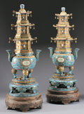 Asian:Chinese, A PAIR OF MASSIVE CHINESE CLOISONNÉ AND JADE CENSORS . 78 inches(198.1 cm) high, each. ... (Total: 2 Items)