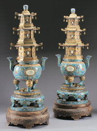 A PAIR OF MASSIVE CHINESE CLOISONNÉ AND JADE CENSORS 78 inches (198.1 cm) high, each